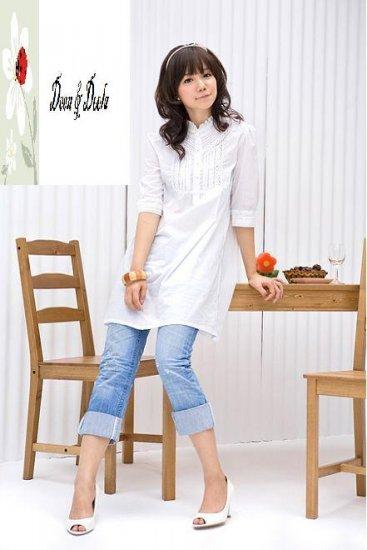 3/4 Sleeve Cotton White Top