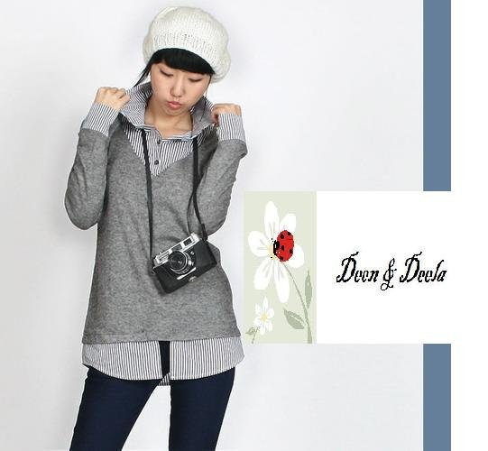 Cotton Shirt with Jumper Look Blouse