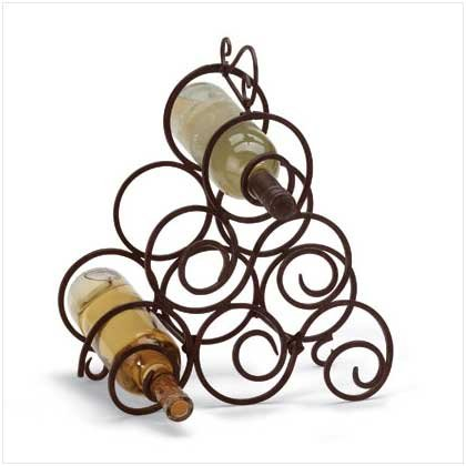 #  32405 Whorls of wrought iron will hold six bottles