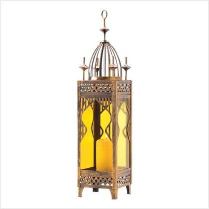 #39057 Amber glass candle lantern