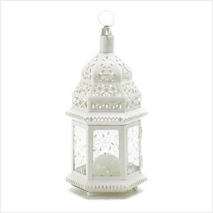 #38465 Lacy ivory lantern with cutout design