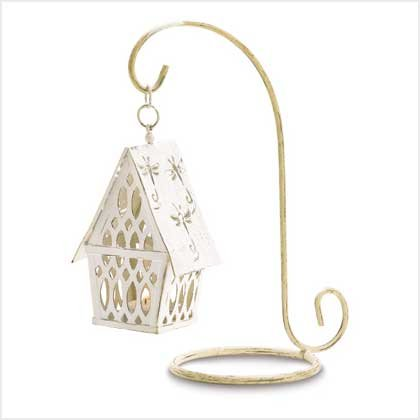 #38560 Birdhouse lantern with lacework