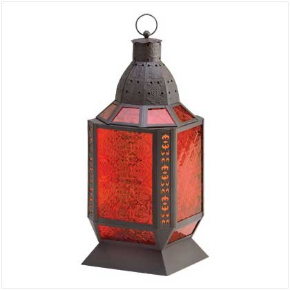 #38372 Hues of amber with pressed-glass lantern