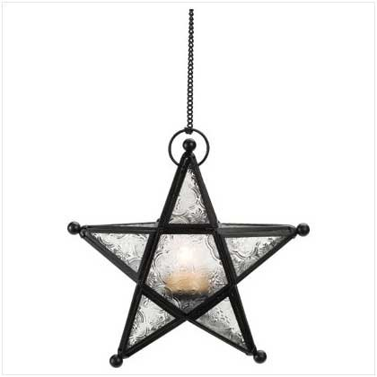 #37159 Five-pointed star lantern with glass panels