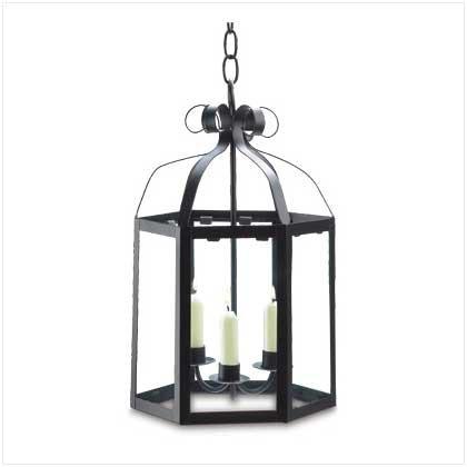 #38464 Matte-black metal taper candle lantern