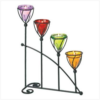 #38648 Amber, amethyst, emerald and ruby colored candle holder