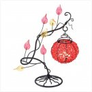 #38949 Autumn leaves curving branch fruit shaped candle holder