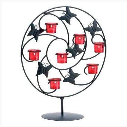 #38371 Butterflies twirl amongst jubilant swirls candle holder