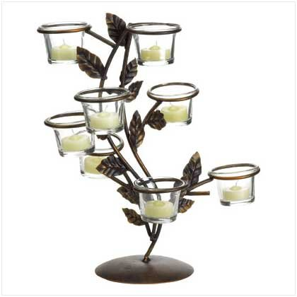 #38027 Coppertone leaves and graceful curving branches candle holder
