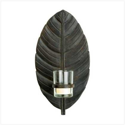 #37855 Graceful bronze-finish leaf candle holder