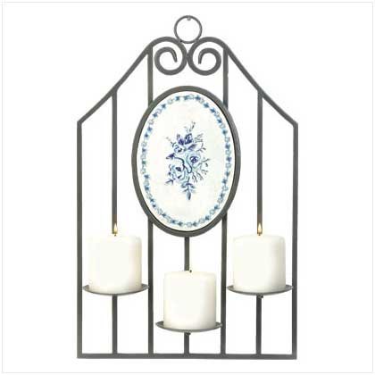 #37900 Garden gate pewter-finish candle holder