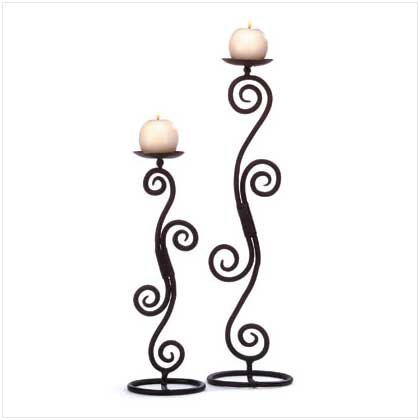 #32395 Hand-hammered wrought iron pair of candlesticks