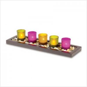 #38711 Five radiant jewel-toned cups create a Zen-like aura