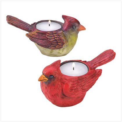#37205 Pair of happy feathered friends candle holders