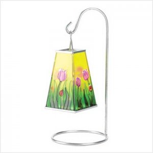 #38528 Tulips free-swinging floral stained-glass votive lantern