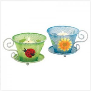 #37888 Posy-trimmed coffee cup candle holders