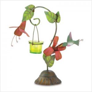 #38583 Hummingbird sampling nectar figural metal candle holder