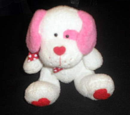 TY Lovesick White Pink Puppy Dog Plush Toy Lovey