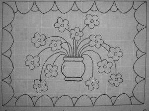 13 Flowers Rug hooking pattern