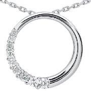 14k White Gold 1.00ct Circle Journey Diamond Pendant