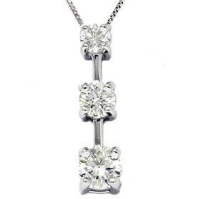 14k White Gold 1.00ct Three Stone Diamond Stick Pendant & Chain
