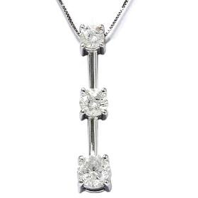 14k White Gold 2.00CT Three Stone Diamond Pendant