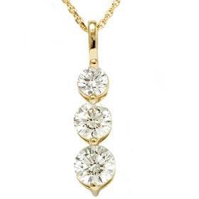 14k Yellow Gold 2.00CT Three Stone Diamond Pendant