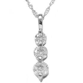 14k White Gold 1.00CT Three Stone Diamond Pendant