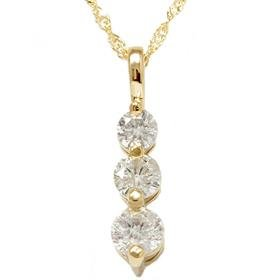 14k Yellow Gold 1.00CT Three Stone Diamond Pendant