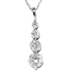14k White Gold 1.55ct Journey Diamond Pendant Necklace