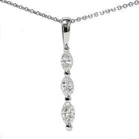 14k White Gold .80CT Marquise Diamond Three Stone Pendant