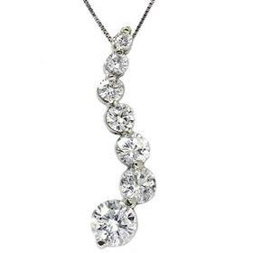 14k White Gold 2.00CT Journey Diamond Pendant