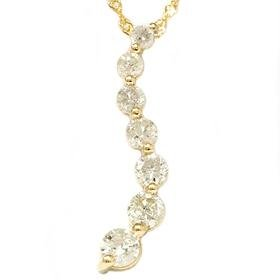 14k Yellow Gold 1.00ct Diamond Journey Pendant Necklace