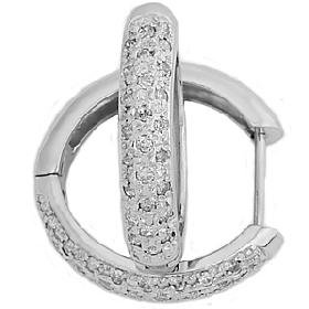 .50CT Pave Diamond Hoop Earrings in 14K White Gold