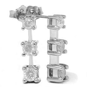 1 CT Three Stone White Gold Diamond Earrings