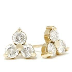 14k Yellow Gold 1.00ct Cluster Diamond Eearrings