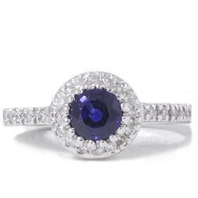 14k White Gold 1.10CT Sapphire & Diamond Engagement Ring