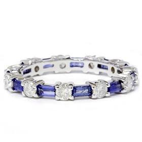 14k White Gold 2 CT Sapphire Baguette Diamond Eternity Band