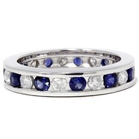 14k White Gold 2.00CT Sapphire & Diamond Eternity Ring