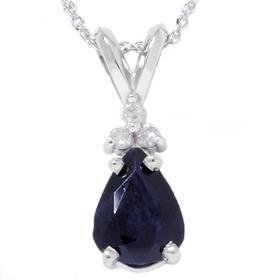 14k White Gold 1.05CT Blue Sapphire & Diamond Pendant