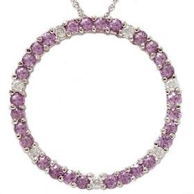14k White Gold 1.25Ct Pink Sapphire & Diamond Pendant
