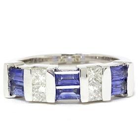 14k White Gold 1.50ct Princess Cut Diamond & Sapphire Ring