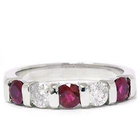14k White Gold .50ct Ruby & Diamond Wedding Ring