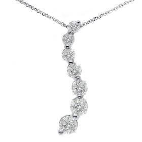 14k White Gold 1.50ct Diamond Journey Pendant Necklace