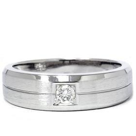 Men's 14k White Gold Solitaire Brushed Diamond Wedding Ring
