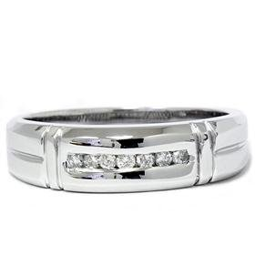 Men's 14k White Gold Diamond Wedding Ring