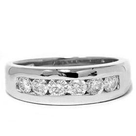 Men's 14k White Gold 1.00ct SI Diamond Ring