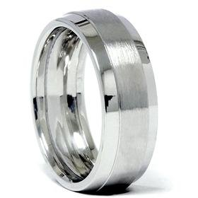 14k White Gold 7.5mm Brushed Comfort Fit Wedding Band
