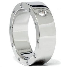 14k White Gold .78CT Mens Diamond Wedding Ring