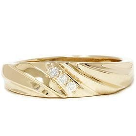 14k Yellow Gold .10CT Men's Curve Diamond Ring